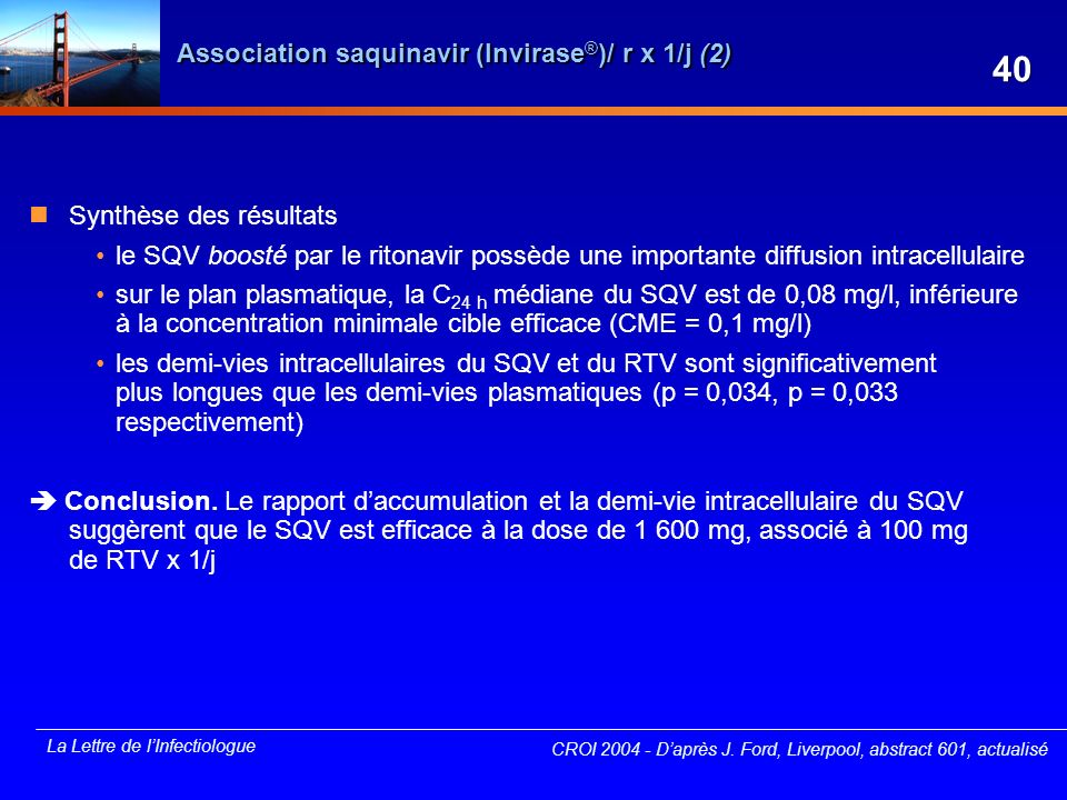 Association saquinavir (Invirase®)/ r x 1/j (2)