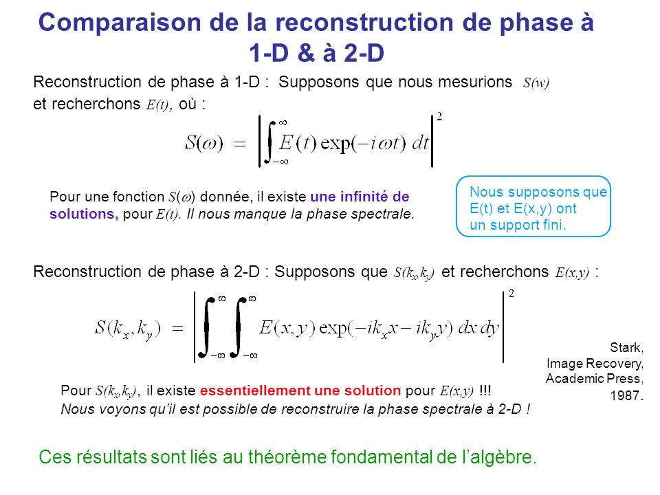Comparaison de la reconstruction de phase à 1-D & à 2-D