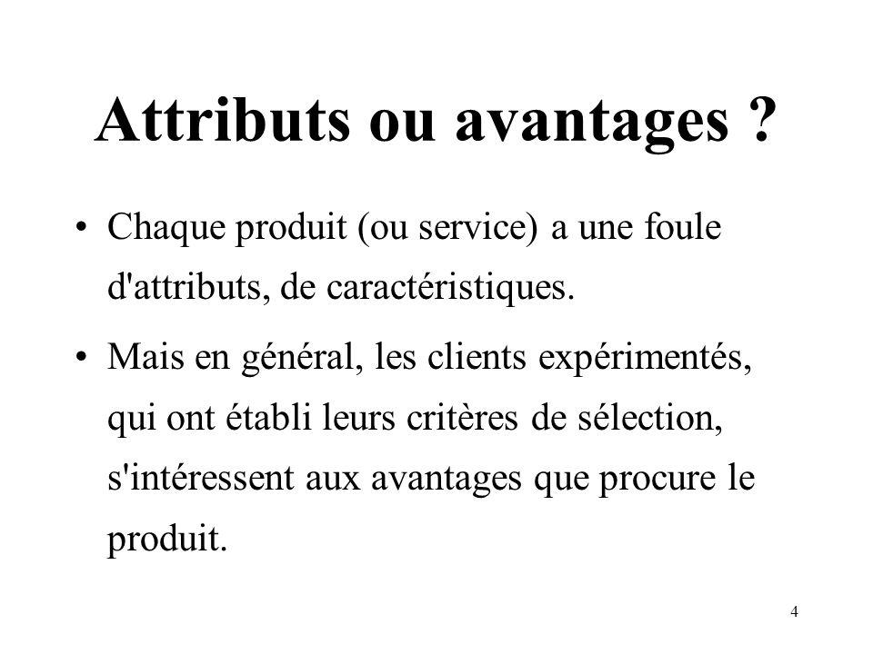 Attributs ou avantages
