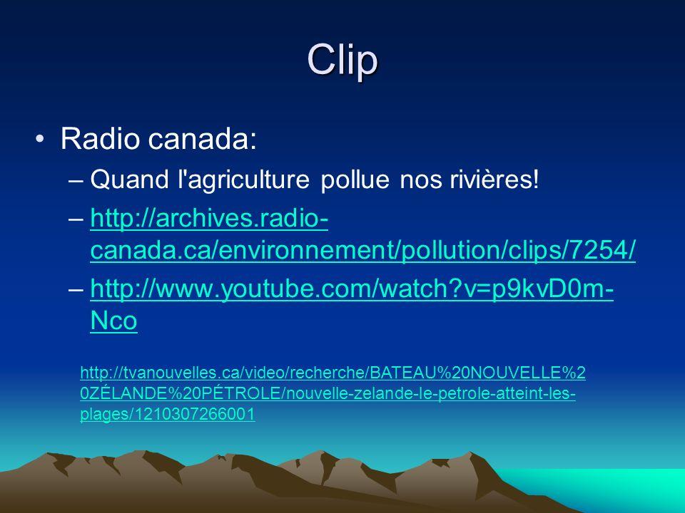Clip Radio canada: Quand l agriculture pollue nos rivières!