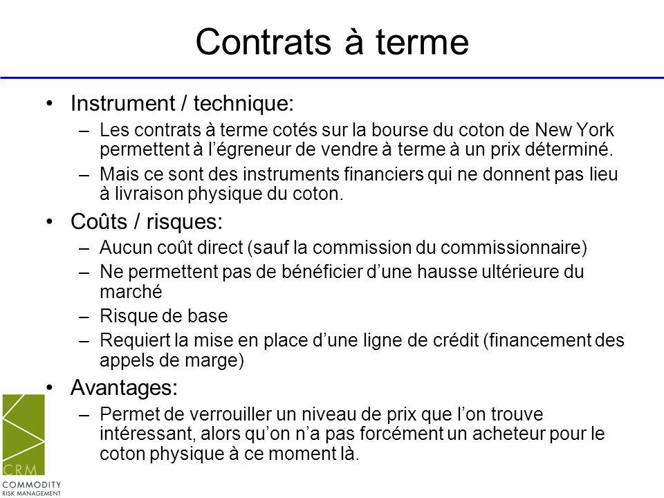 Contrats à terme Instrument / technique: Coûts / risques: Avantages: