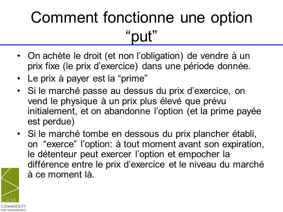 Comment fonctionne une option put