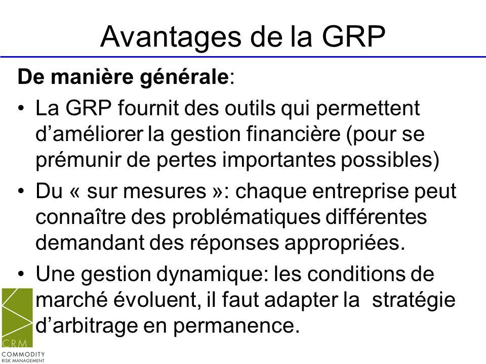 Avantages de la GRP De manière générale: