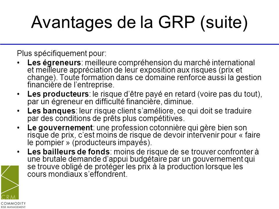 Avantages de la GRP (suite)