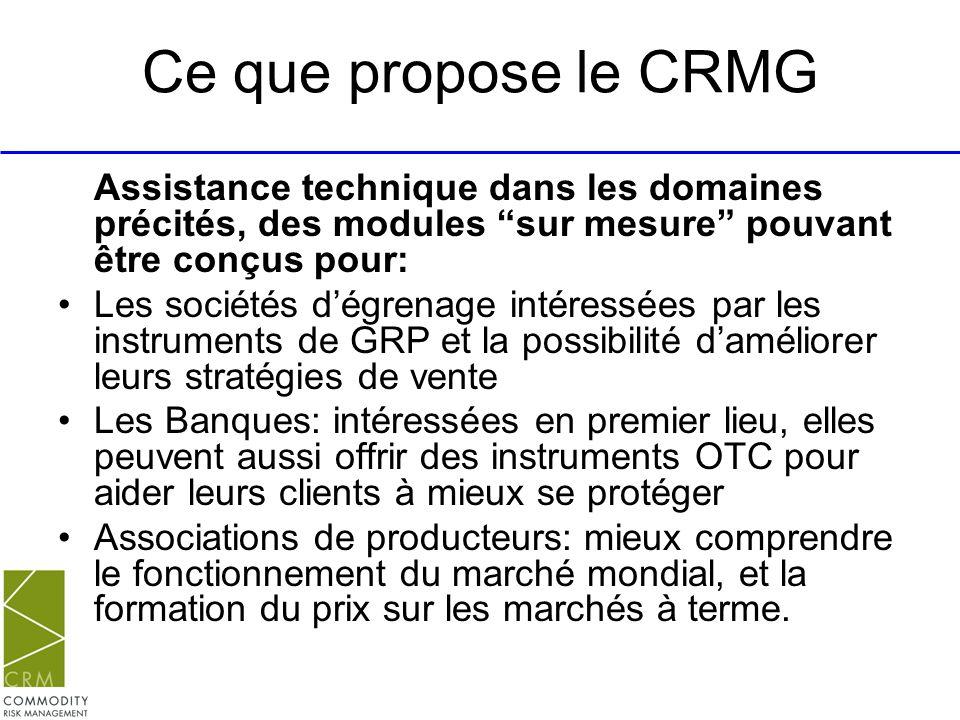 Ce que propose le CRMG Assistance technique dans les domaines précités, des modules sur mesure pouvant être conçus pour: