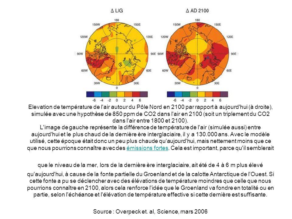 Elevation de température de l air autour du Pôle Nord en 2100 par rapport à aujourd hui (à droite), simulée avec une hypothèse de 850 ppm de CO2 dans l air en 2100 (soit un triplement du CO2 dans l air entre 1800 et 2100).