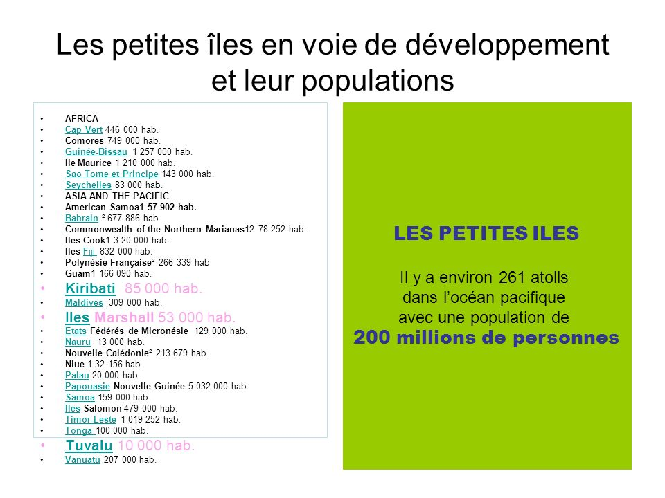Les petites îles en voie de développement et leur populations