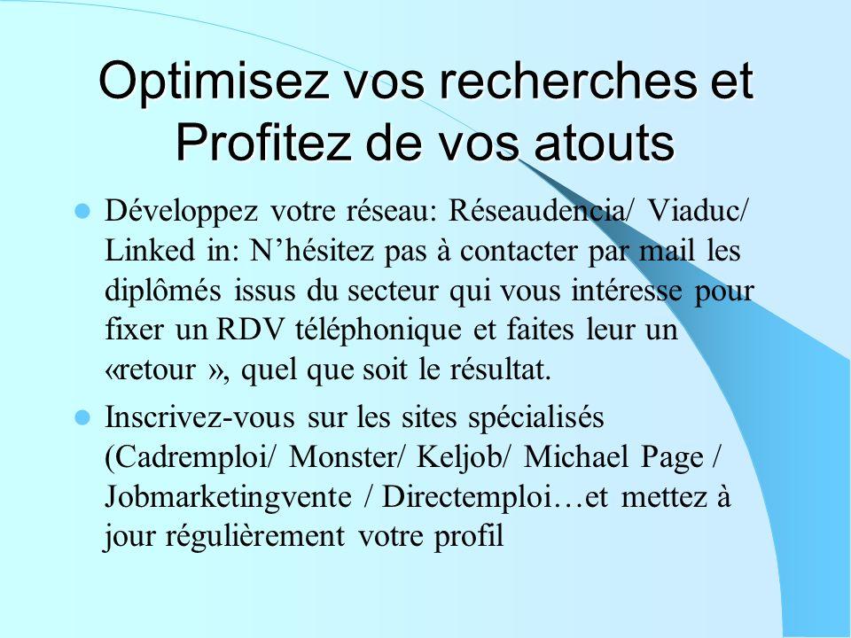 Optimisez vos recherches et Profitez de vos atouts