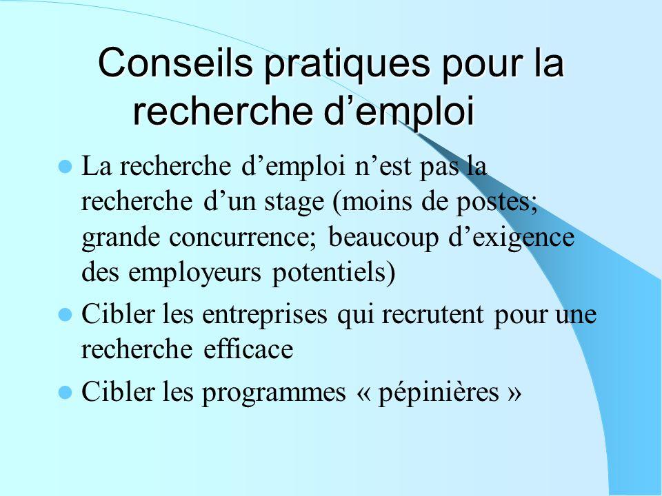 Conseils pratiques pour la recherche d'emploi