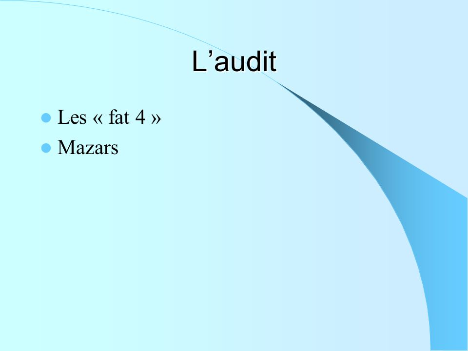 L'audit Les « fat 4 » Mazars