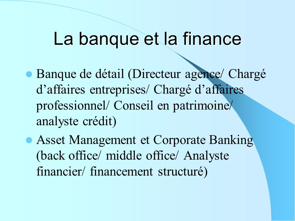 La banque et la finance