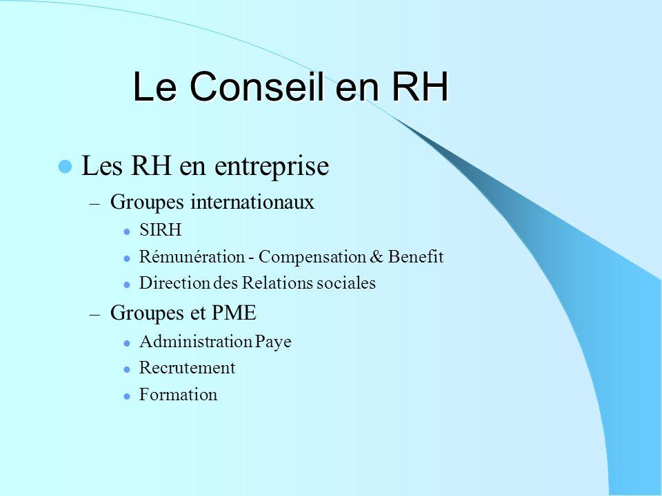 Le Conseil en RH Les RH en entreprise Groupes internationaux