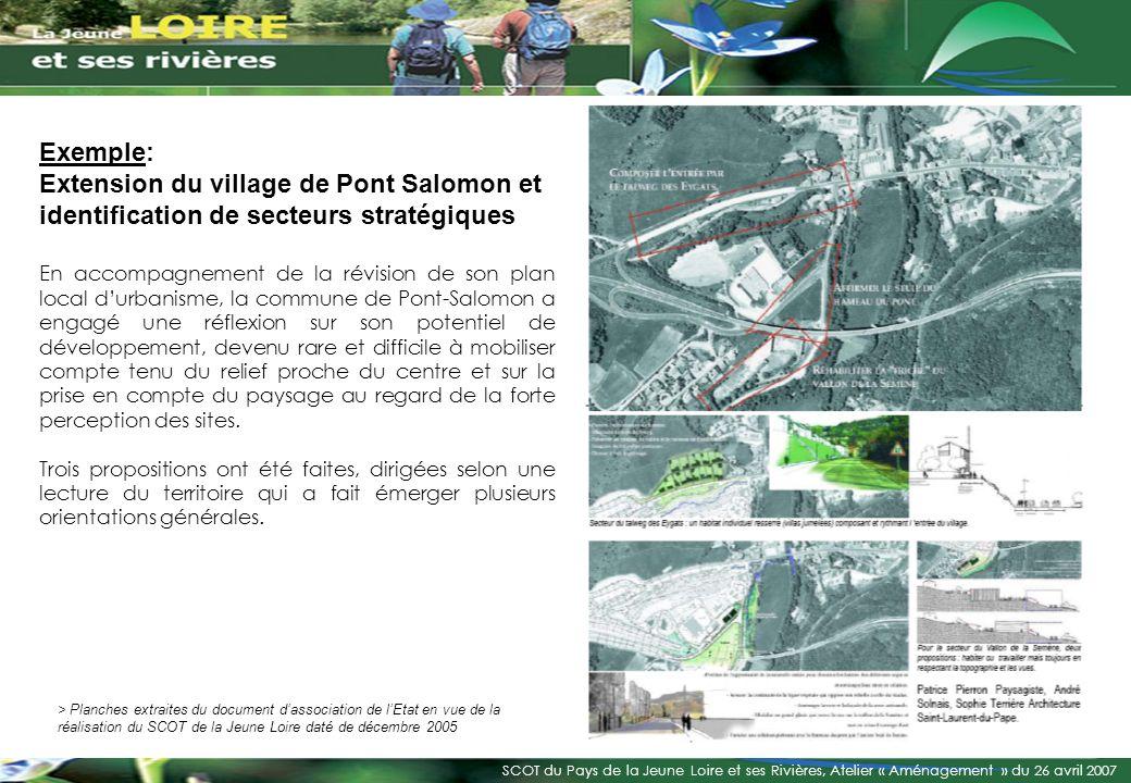 Exemple: Extension du village de Pont Salomon et identification de secteurs stratégiques.