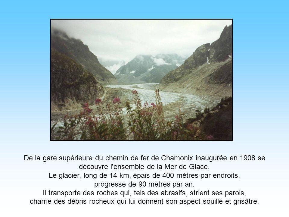 Le glacier, long de 14 km, épais de 400 mètres par endroits,