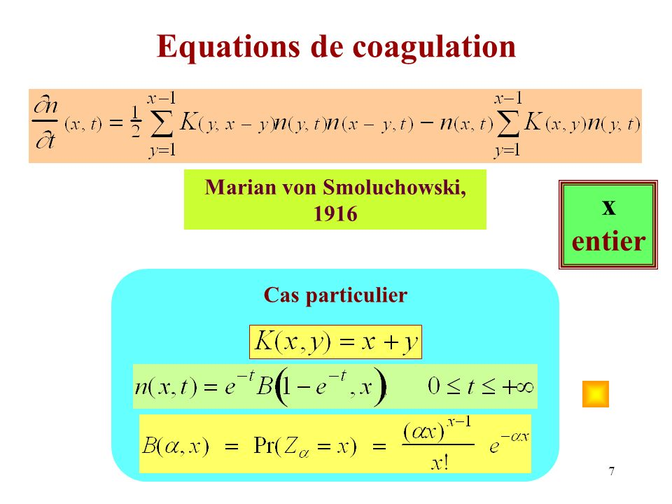 Equations de coagulation
