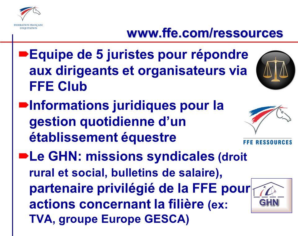 www.ffe.com/ressources Equipe de 5 juristes pour répondre aux dirigeants et organisateurs via FFE Club.