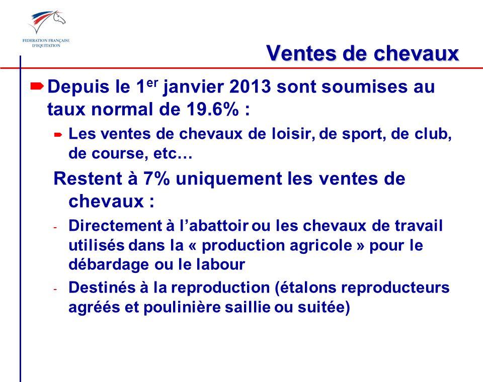 Ventes de chevaux Depuis le 1er janvier 2013 sont soumises au taux normal de 19.6% :