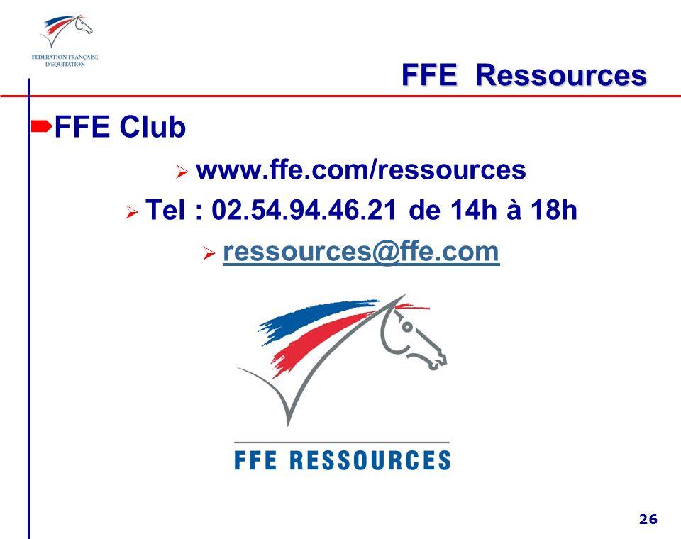 FFE Ressources FFE Club www.ffe.com/ressources