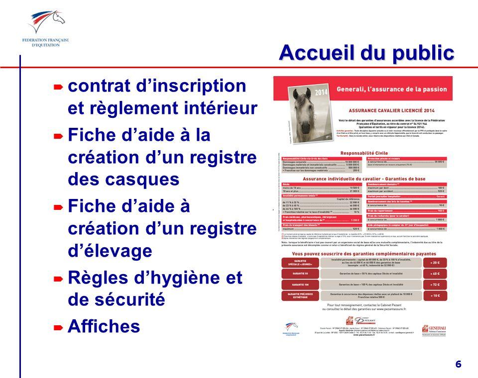 Accueil du public contrat d'inscription et règlement intérieur
