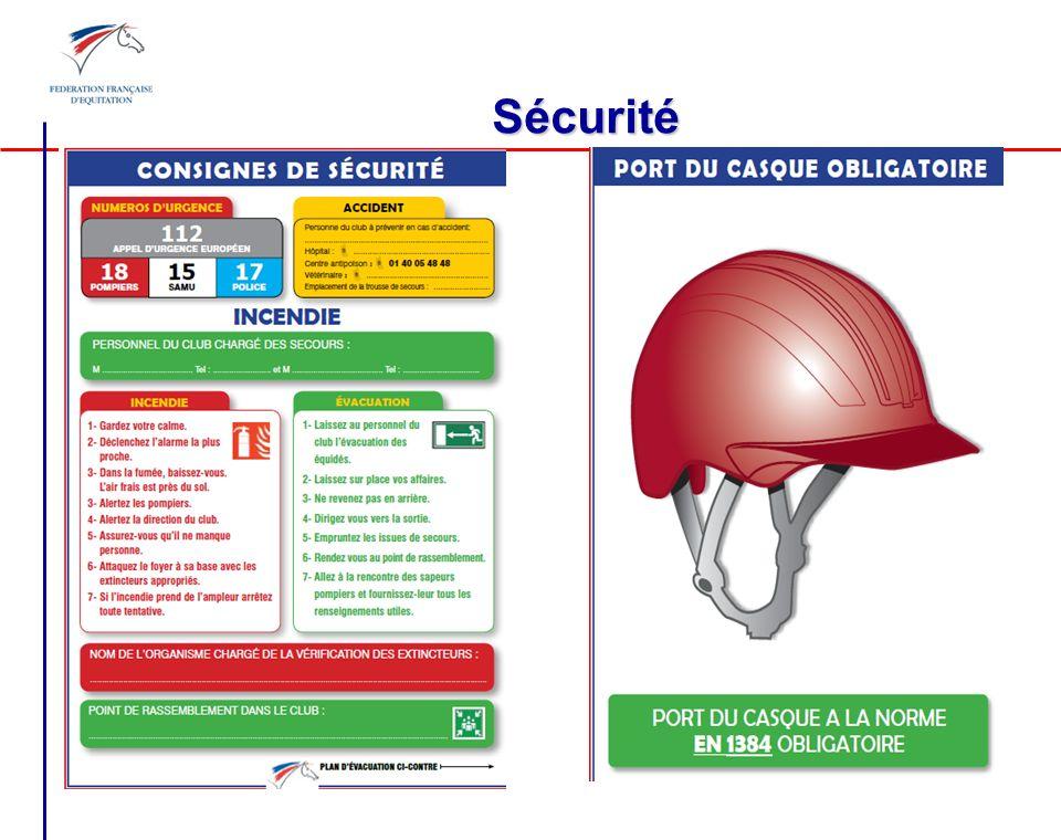 Sécurité Consignes de sécurité + port du casque + ERP équidés, art. A322-116