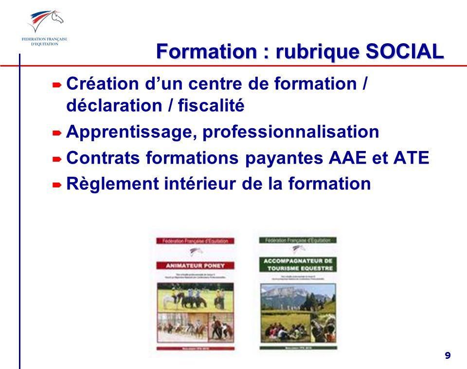Formation : rubrique SOCIAL