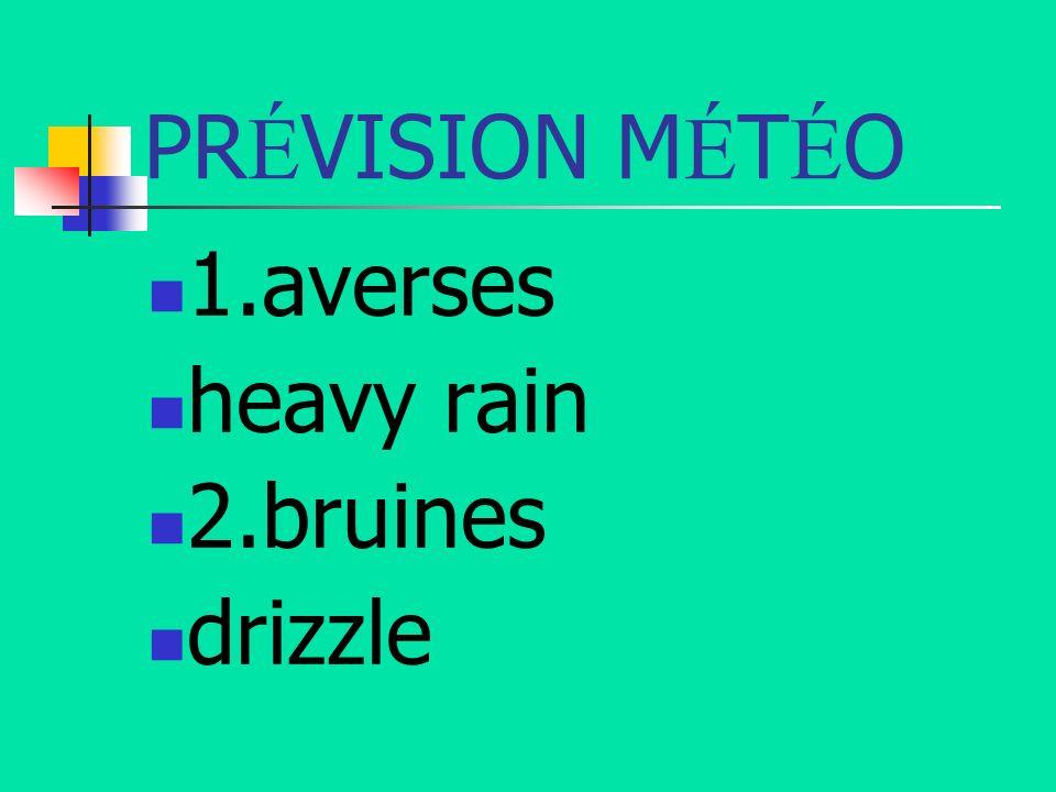 PRÉVISION MÉTÉO 1.averses heavy rain 2.bruines drizzle