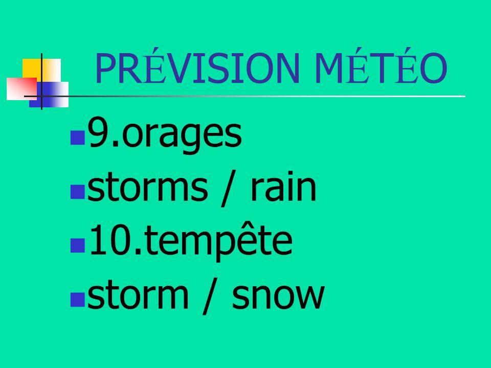 PRÉVISION MÉTÉO 9.orages storms / rain 10.tempête storm / snow
