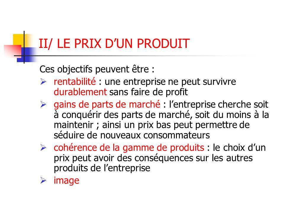 II/ LE PRIX D'UN PRODUIT