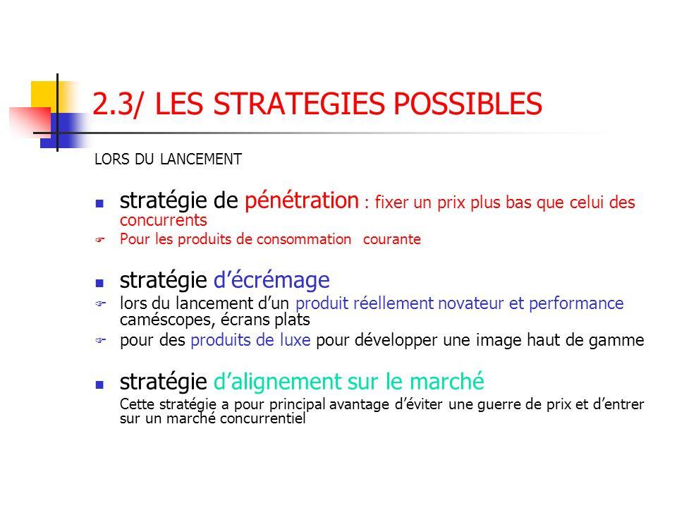 2.3/ LES STRATEGIES POSSIBLES