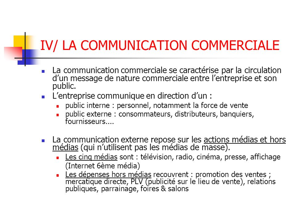 IV/ LA COMMUNICATION COMMERCIALE