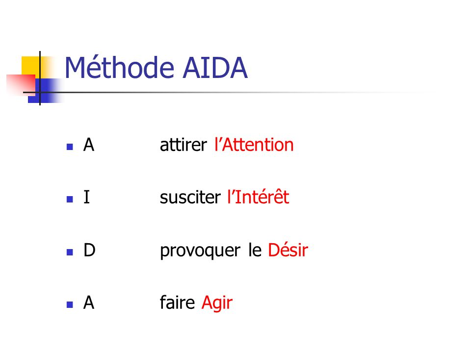 Méthode AIDA A attirer l'Attention I susciter l'Intérêt