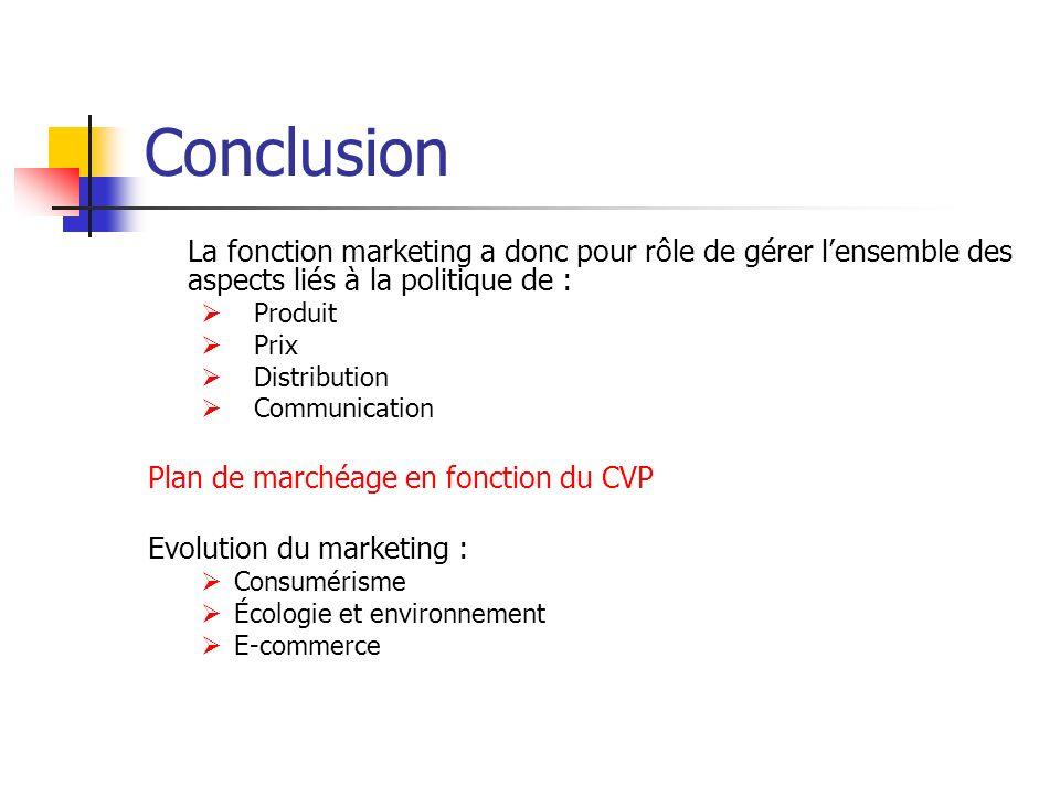 Conclusion La fonction marketing a donc pour rôle de gérer l'ensemble des aspects liés à la politique de :