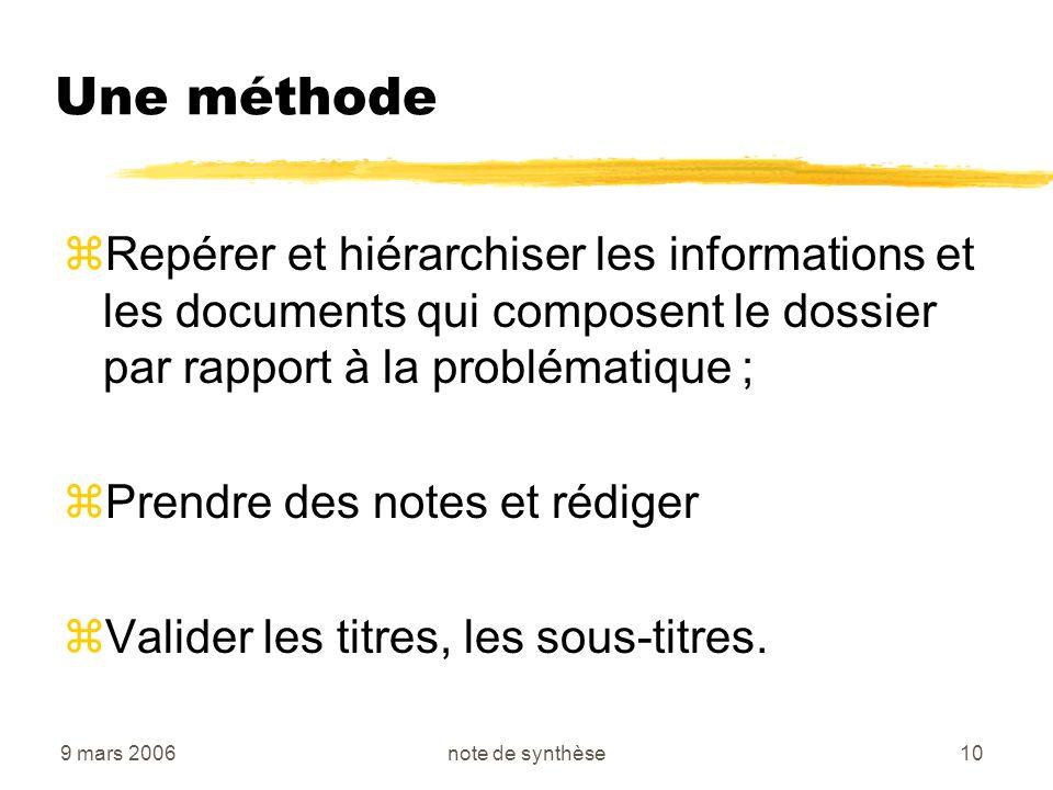 Une méthode Repérer et hiérarchiser les informations et les documents qui composent le dossier par rapport à la problématique ;