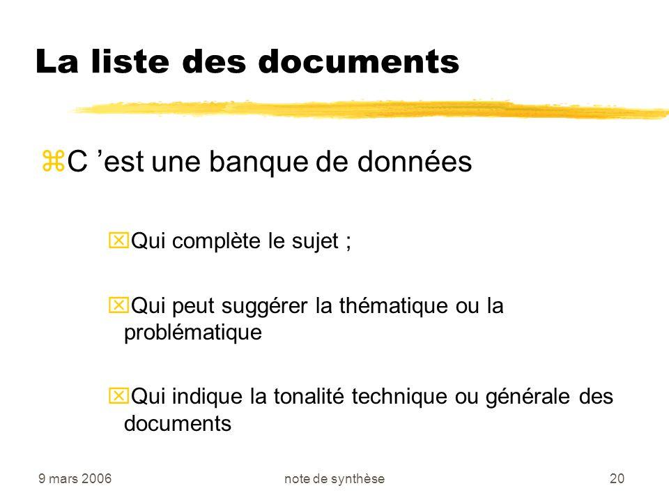 La liste des documents C 'est une banque de données
