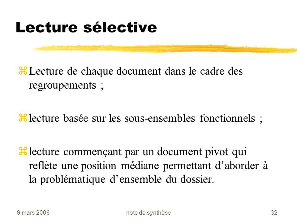 Lecture sélective Lecture de chaque document dans le cadre des regroupements ; lecture basée sur les sous-ensembles fonctionnels ;