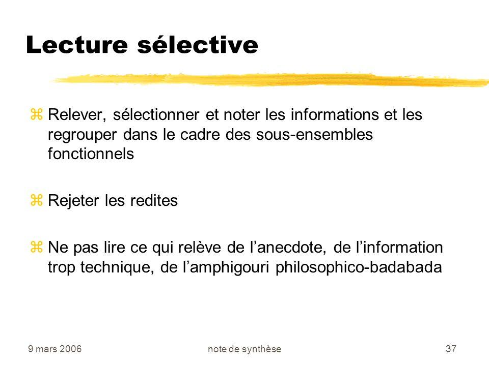 Lecture sélective Relever, sélectionner et noter les informations et les regrouper dans le cadre des sous-ensembles fonctionnels.