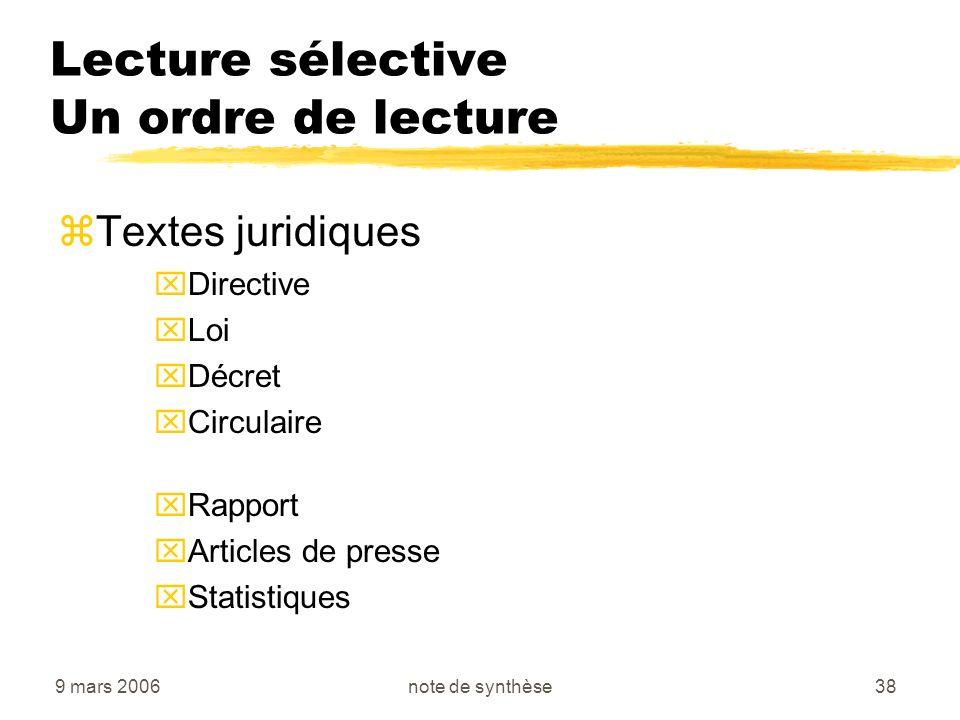Lecture sélective Un ordre de lecture