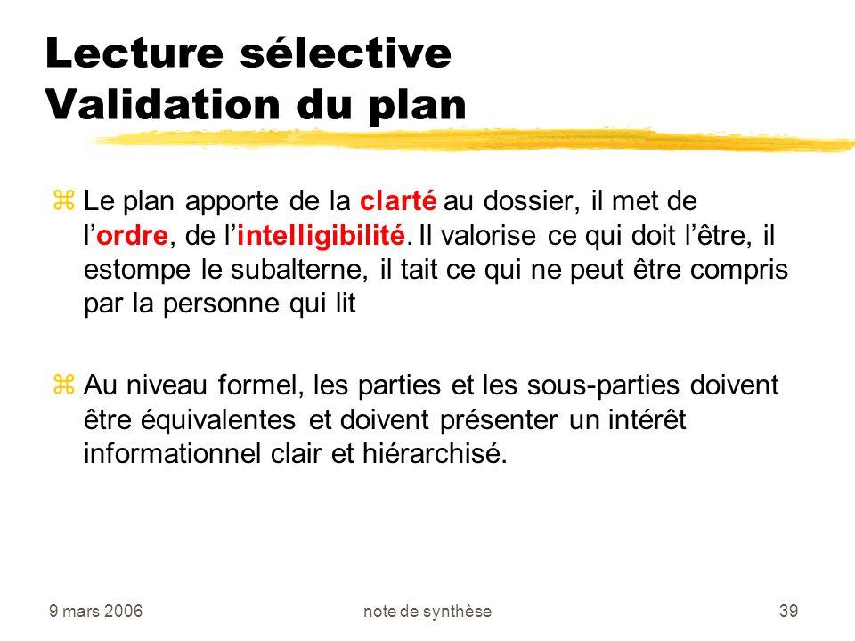 Lecture sélective Validation du plan