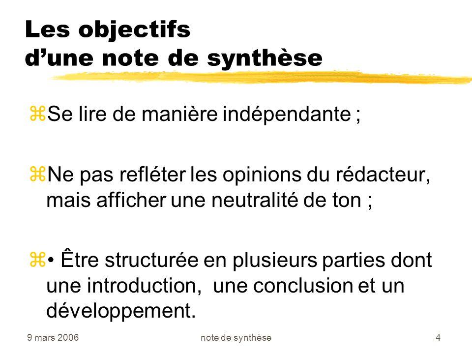 Les objectifs d'une note de synthèse