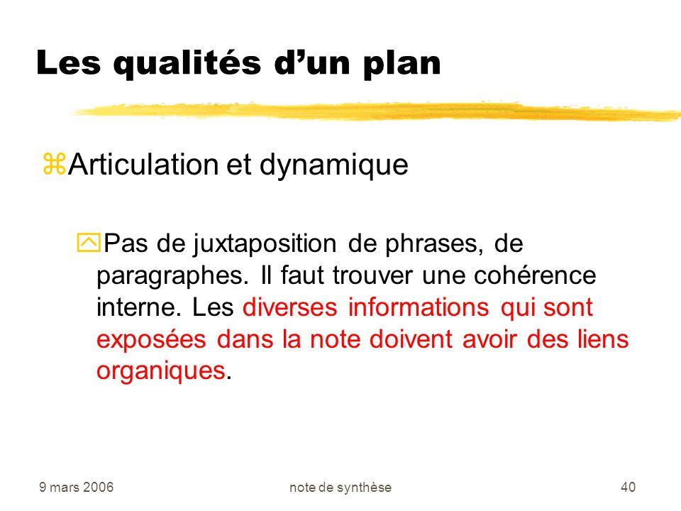 Les qualités d'un plan Articulation et dynamique