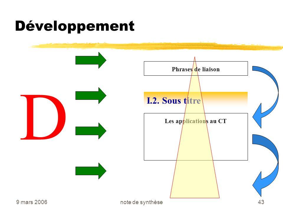 D Développement I.2. Sous titre Phrases de liaison
