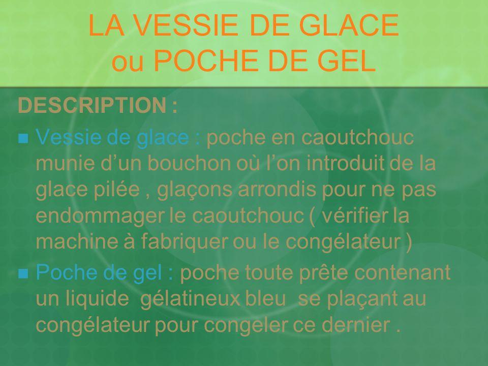 LA VESSIE DE GLACE ou POCHE DE GEL