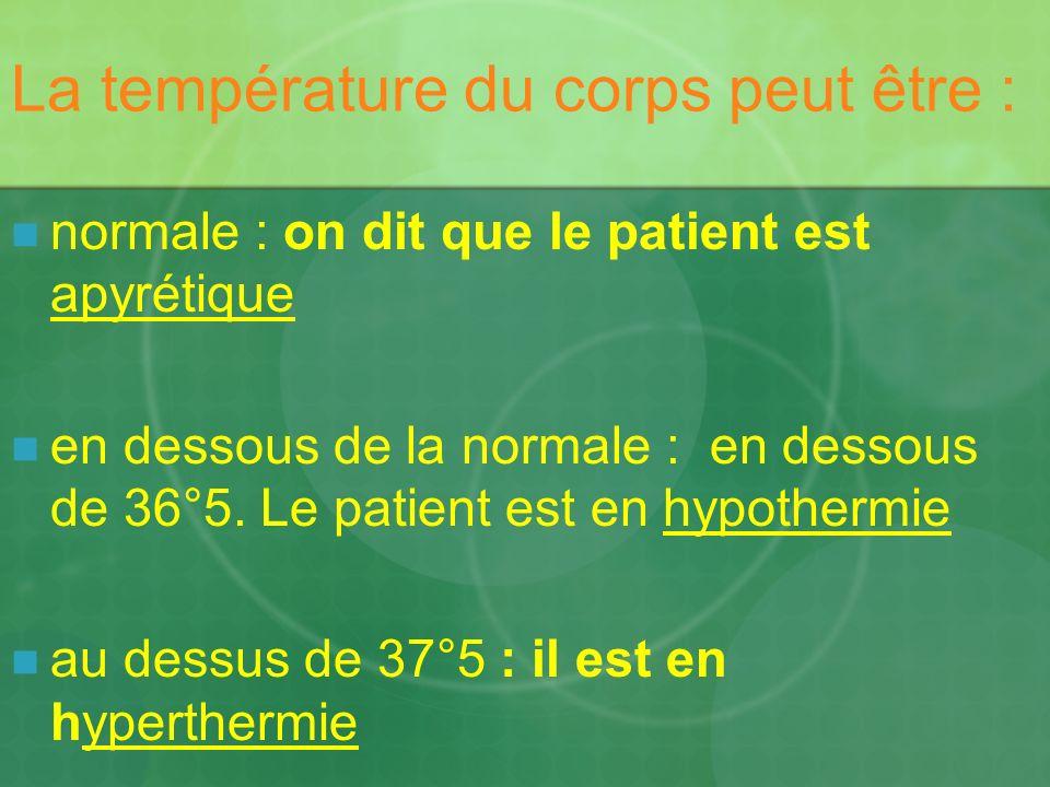 La température du corps peut être :