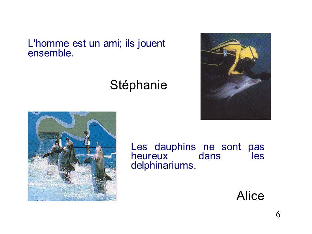 Stéphanie Alice L homme est un ami; ils jouent ensemble.