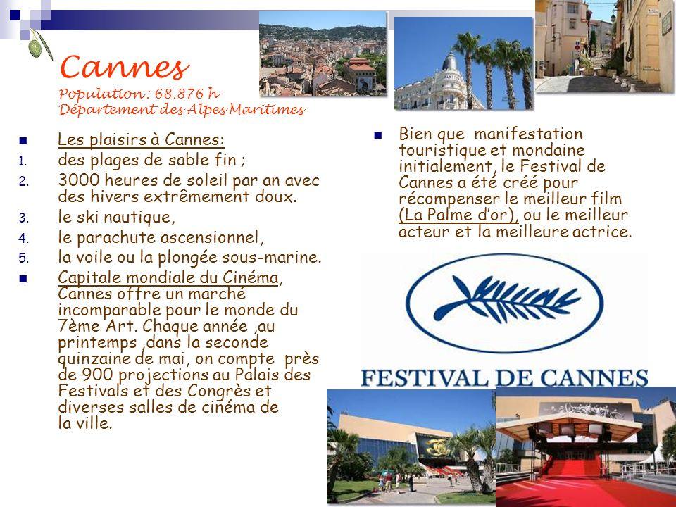 Cannes Population : 68.876 h Département des Alpes Maritimes