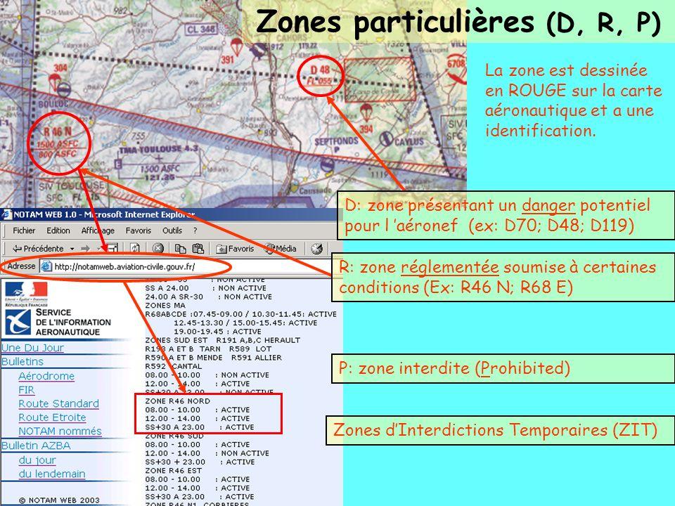 Zones particulières (D, R, P)