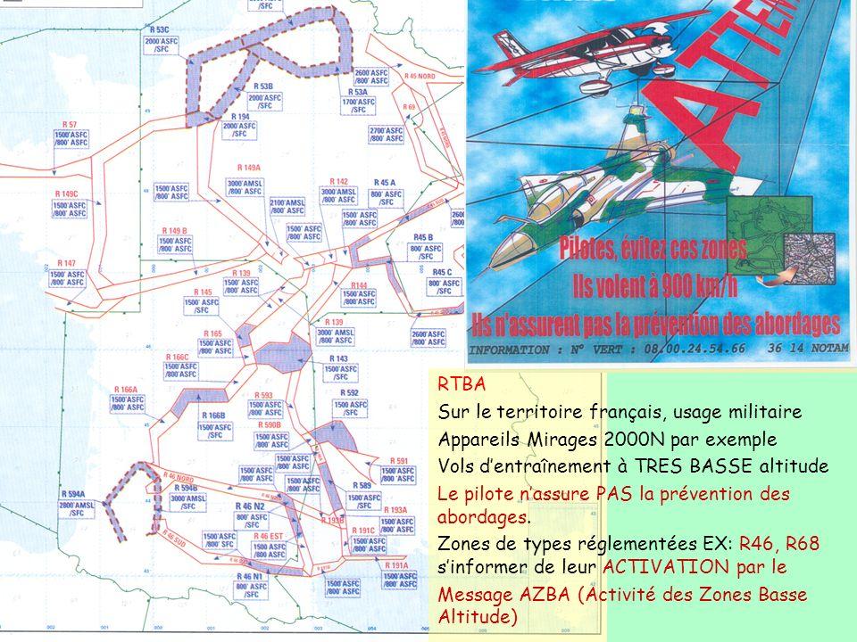 RTBA Sur le territoire français, usage militaire. Appareils Mirages 2000N par exemple. Vols d'entraînement à TRES BASSE altitude.