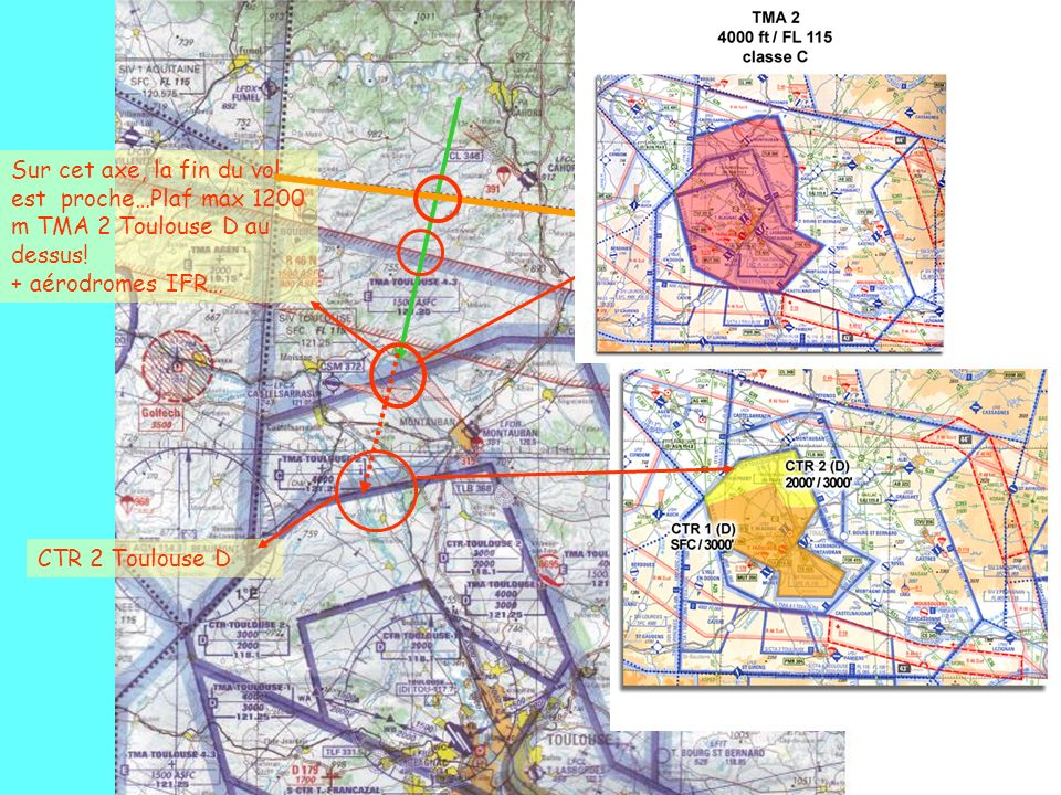 Sur cet axe, la fin du vol est proche…Plaf max 1200 m TMA 2 Toulouse D au dessus! + aérodromes IFR…