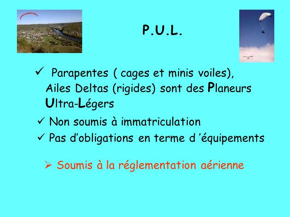 P.U.L. Parapentes ( cages et minis voiles), Ailes Deltas (rigides) sont des Planeurs Ultra-Légers. Non soumis à immatriculation.