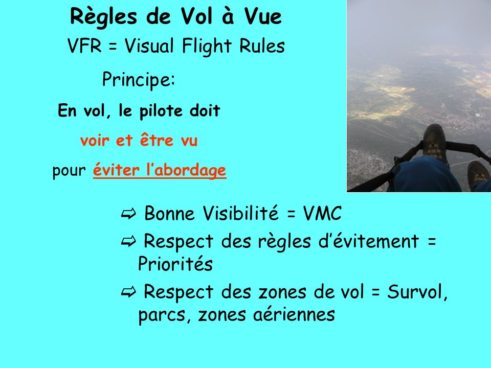 Règles de Vol à Vue VFR = Visual Flight Rules Principe: